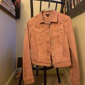 Mauve pink lightly distressed jean jacket